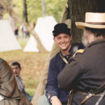 Re-enactors at their campsite during the White Covered Bridge Festival