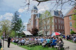Waynesburg University Graduation in front of Miller Hall